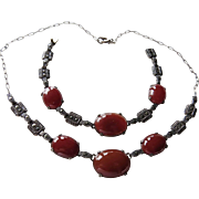 Art Deco Carnelian+Marcasite Sterling Necklace+Bracelet