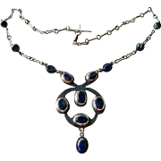 Arts and Crafts Lapis Lazuli Sterling Necklace