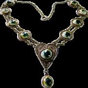 Victorian Operculum Cats Eyes Sterling Necklace + Bracelet Set - Red Tag Sale Item