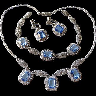 Art Deco Sterling Filigree Blue Crystal 4 Piece Set