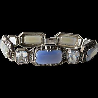 Art Deco Chalcedony Sterling Bracelet