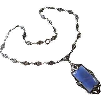 Art Deco Chalcedony Sterling Necklace Germany