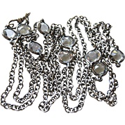 Edwardian Sterling with Pastes Necklace Chain with Dog Clip 50""