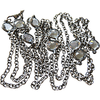 """Edwardian Sterling with Pastes Necklace Chain with Dog Clip 50"""""""