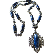 Stunning Art Deco Azurite Sterling Marcasites Necklace Germany