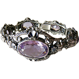 Austro-Hungarian Amethyst + Enamel Sterling Bracelet