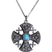 Jerusalem Cross Sterling Persian Turquoise