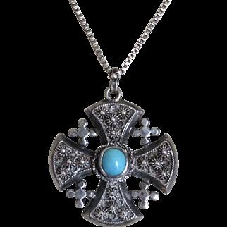 Jerusalem Cross Sterling Persian Turquoise