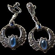 Art Deco Sapphire Paste Sterling Marcasite Earrings