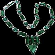 Art Deco Emerald Paste Necklace