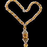 Art Deco Sterling Citrine Crystal Necklace
