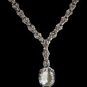 Edwardian Sterling Paste Lavalier Necklace