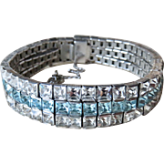Art Deco Diamond+Topaz Paste Sterling Bracelet
