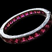 Art Deco Ruby Red Sterling Bangle Bracelet Large