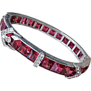 Art Deco Ruby Red Sterling Buckle Bracelet Large