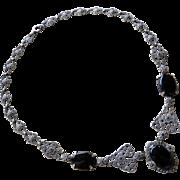 Art Nouveau Sterling Onyx + Marcasite Necklace