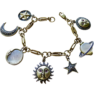 Heavy, Large, Sterling Celestial Charm Bracelet by Heirloom73