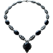 Art Deco Sterling Onyx + Marcasites Heavy Necklace