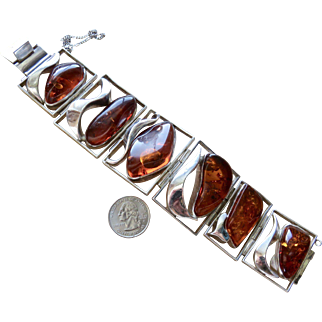 Deco Hugest Baltic Amber Sterling Bracelet 168 grams
