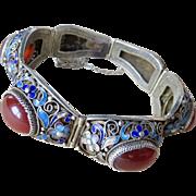 Vintage Chinese Enamel & Carnelian Sterling Bracelet