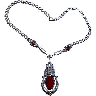 Art Deco Carnelian Marcasite Sterling Necklace