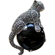 Vintage Panther Onyx Sterling Marcasite Brooch Pin