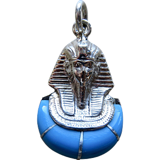 Deco Egyptian Turquoise Glass Sterling Tut Pendant