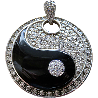 Huge Yin Yang Diamanté Sterling Pendant Necklace