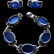 Mexico Sterling Blue Glass Mirror Bracelet & Earrings
