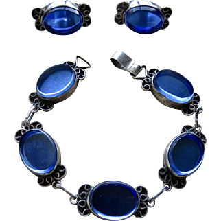 Mexico Sterling Blue Glass Mirror Bracelet & Earrings