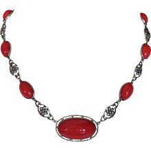 Art Nouveau Sterling Red glass Necklace - Red Tag Sale Item