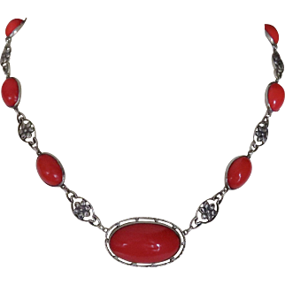 Art Nouveau Sterling Red glass Necklace