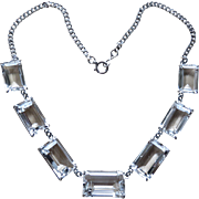 Deco Rock Crystal Sterling Japan Necklace
