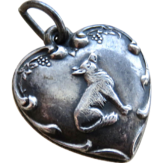 Sterling Puffy Heart Charm 1940's Fox & Grapes