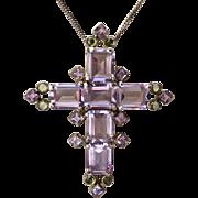 Amethyst & Peridot Huge Sterling Cross Pendant Necklace