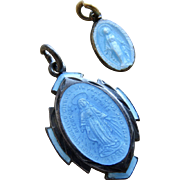 Victorian Guilloche Enamel Sterling Mother Mary Charms