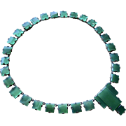 Germany Art Deco Chrysoprase Sterling Necklace Awesome!