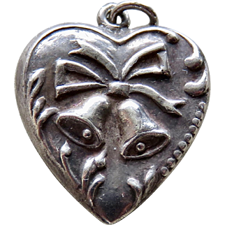 Vintage Sterling Puffy Heart Wedding Bells Charm