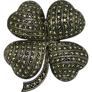 Lucky Sterling and Marcasite Large 4-Leaf Clover Brooch