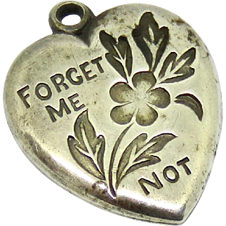Walter Lampl Sterling Puffy Heart Charm Forget Me Not