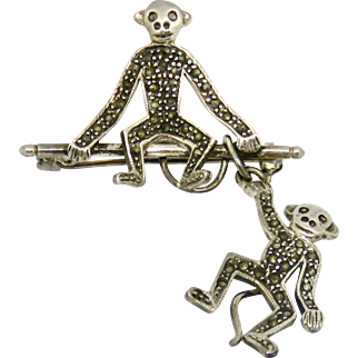 Deco Sterling with Marcasites Dangling Monkey Brooch