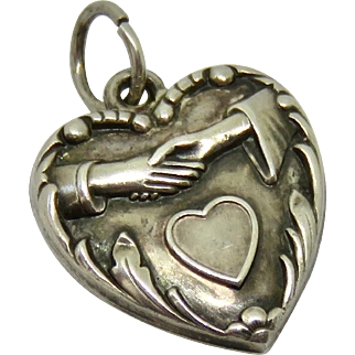 "Vintage ""1941"" Sterling Puffy Heart Charm Evelyn"