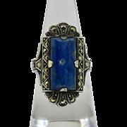 Art Deco Sodalite Sterling Marcasite Ring 6.25
