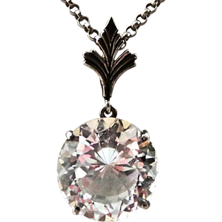 Vintage White Topaz Sterling Enhancer Pendant