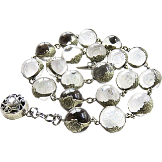 Deco Rock Crystal Pools of Light Sterling Floral Band Necklace