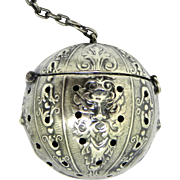 Antique North Wind Sterling Tea Ball