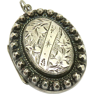 Victorian Sterling Locket Pendant