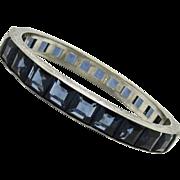 Art Deco Sapphire Paste Sterling Bangle Bracelet 3/8 Wide