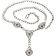 Art Deco 14K Diamonds+Rock Crystal Krementz Lavalier Necklace
