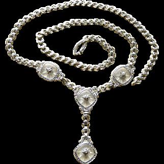 Art Deco 14K Diamonds+Rock Crystal Krementz Lavalier Necklace
